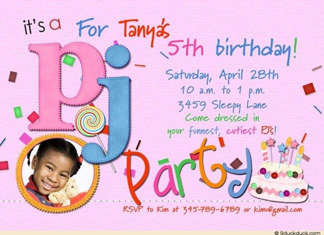 Pajama Party Invitation Wording