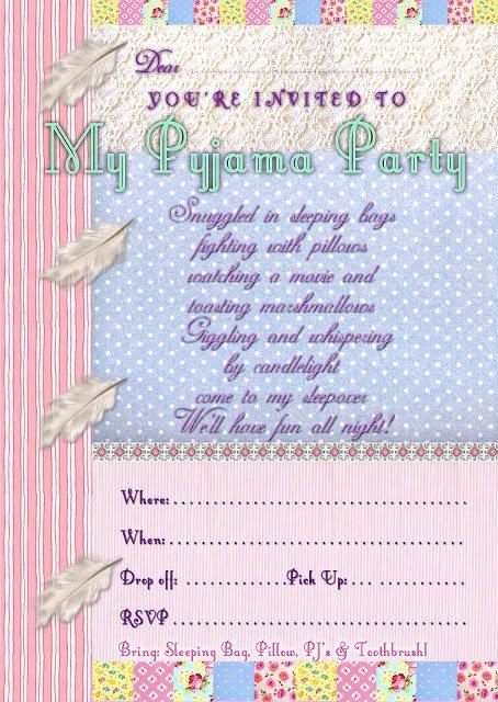 Pajama Party Invitations Free Printable