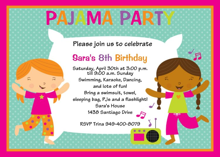 Pajama Party Invitations Wording