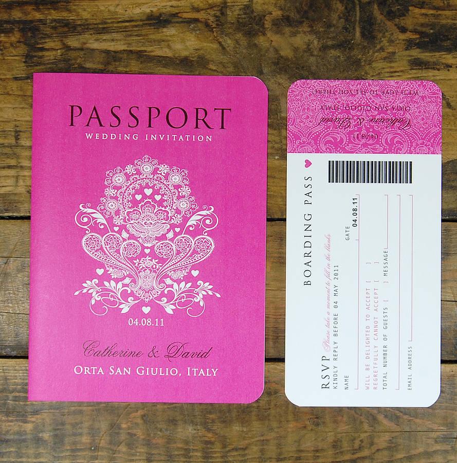 Passport Style Wedding Invitations Template