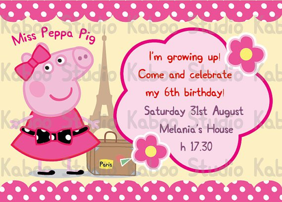 Peppa Pig Party Invitations Templates