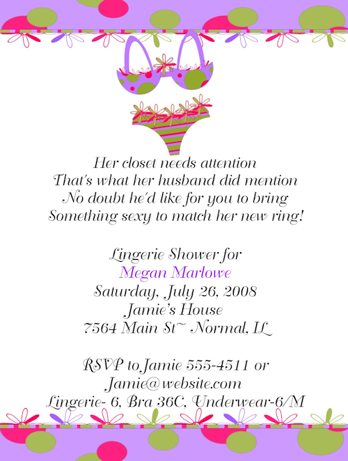Personal Bridal Shower Invitations Wording