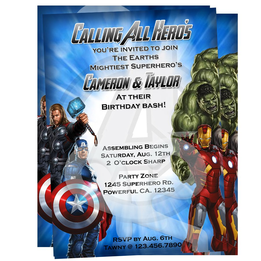 Personalized Avengers Party Invitations