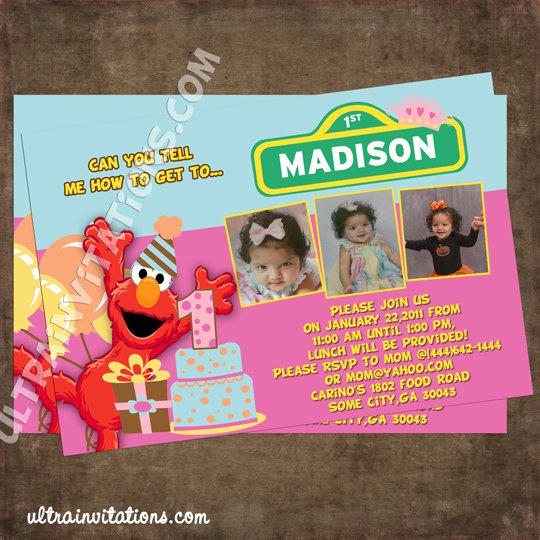 Personalized Elmo Birthday Invitations