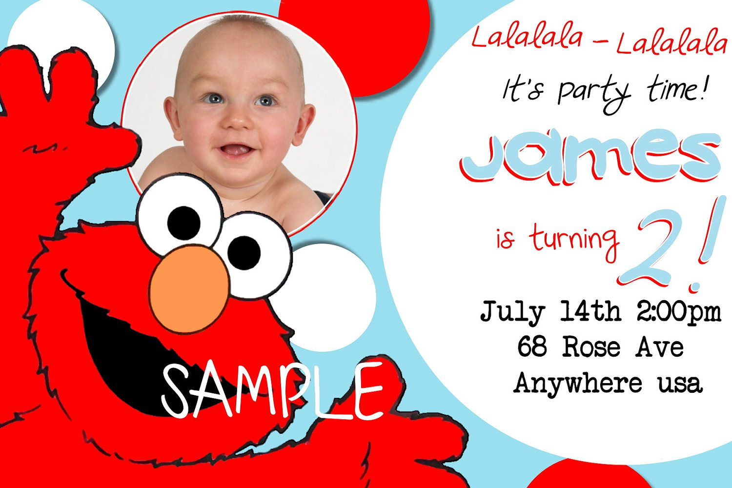 Personalized Elmo First Birthday Invitations