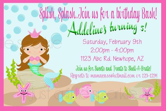 Personalized Mermaid Birthday Invitations