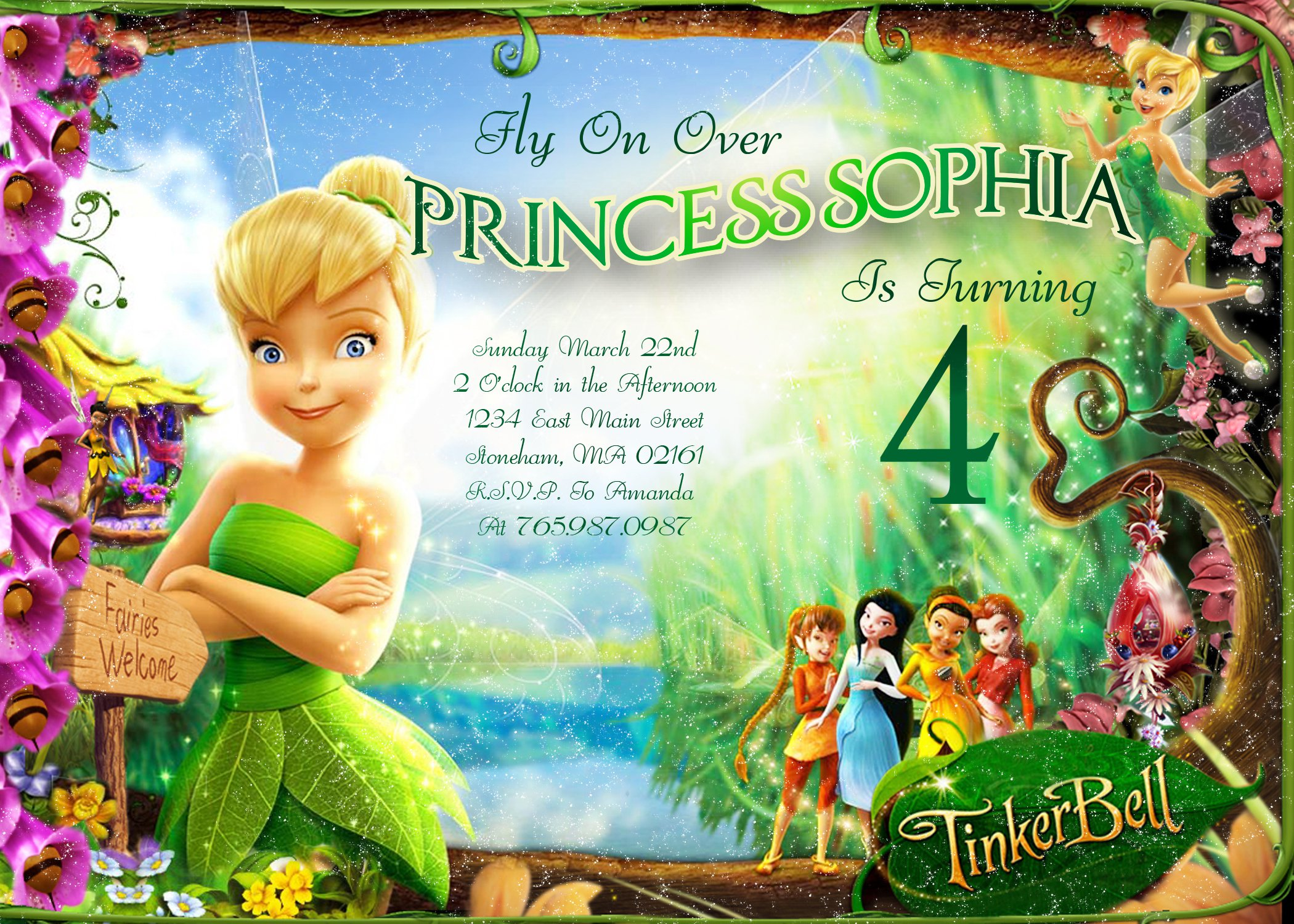 Personalized Tinkerbell Invitations