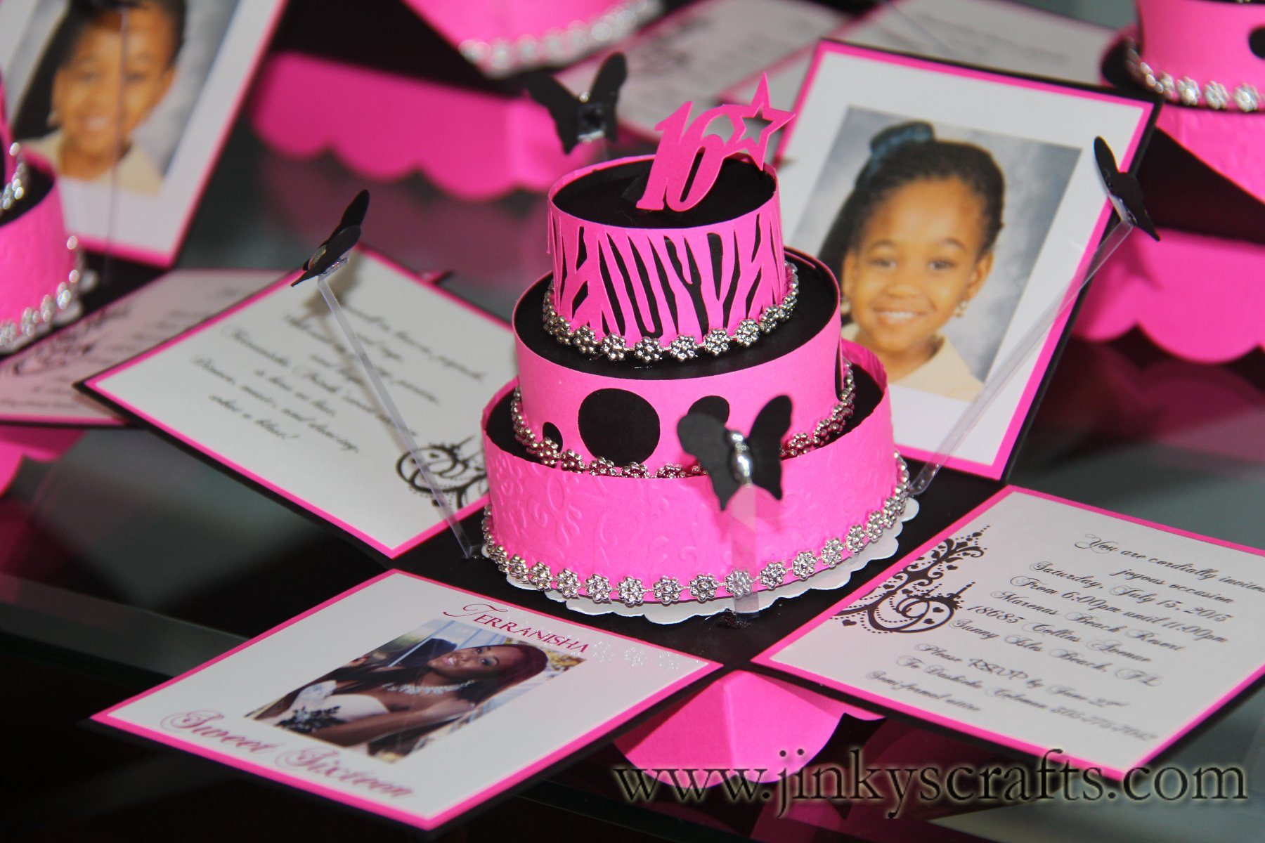Pink And Black Zebra Invitations