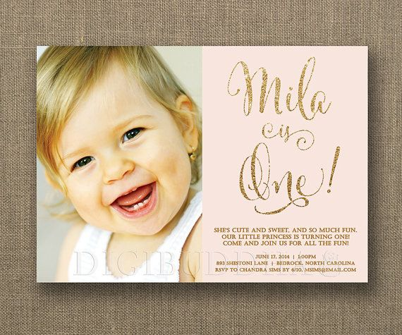 Pink And Gold 1st Birthday Invitations