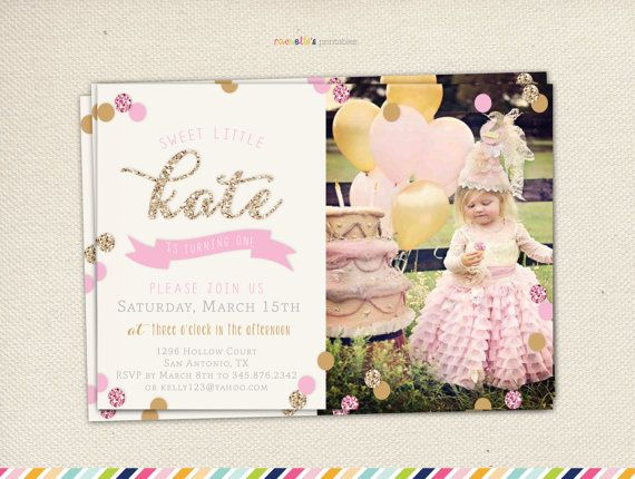 Pink And Gold Invitations First Birthday