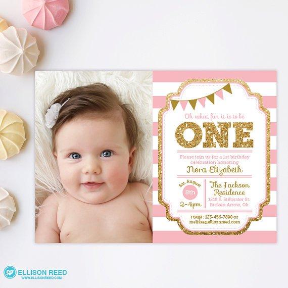 Pink And Gold Princess 1st Birthday Invitations
