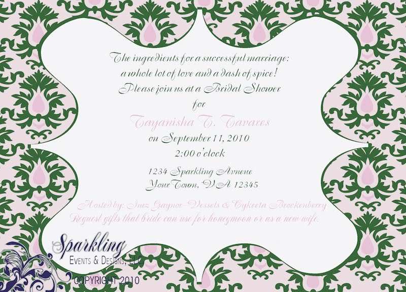 Pink And Green Damask Invitations
