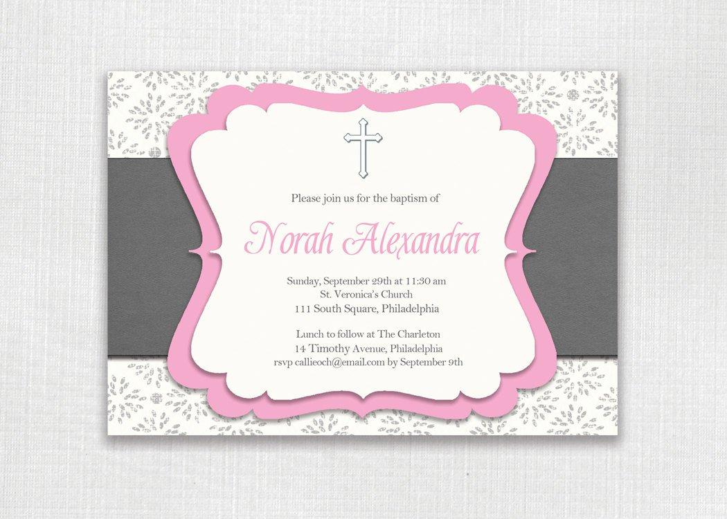 Pink Baptism Invitations