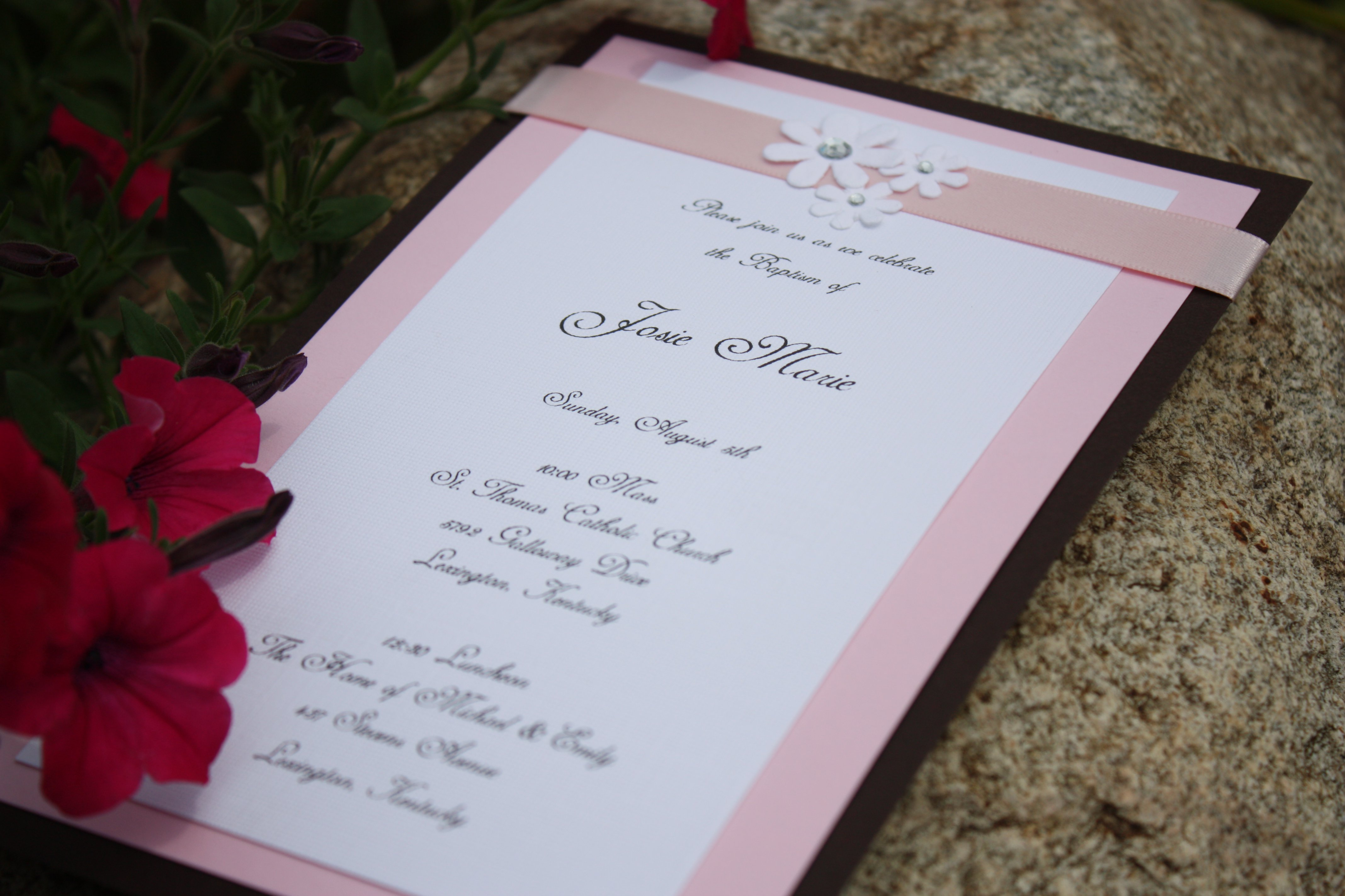 Pink Baptismal Invitations