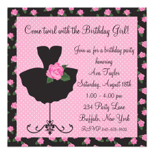 Pink Birthday Party Invitation Wording