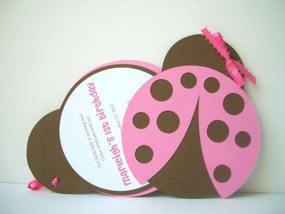 Pink Bug 1st Birthday Invitations