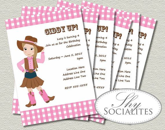 Pink Cowgirl Printable Invitations