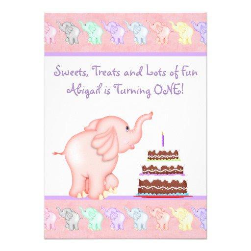Pink Elephant 1st Birthday Invitations