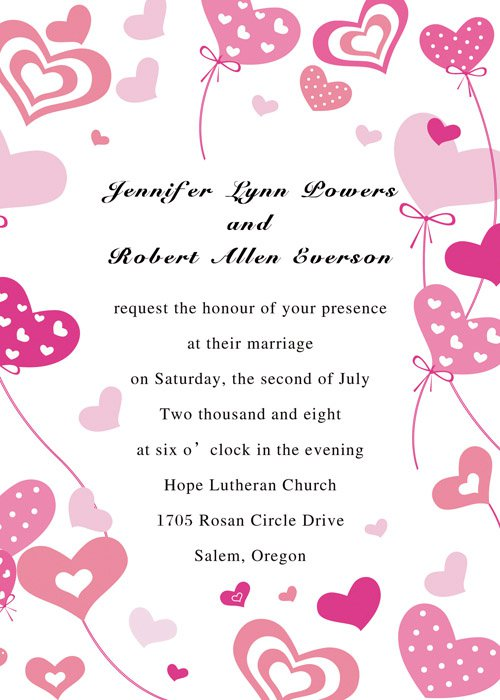 Pink Hearts Wedding Invitations