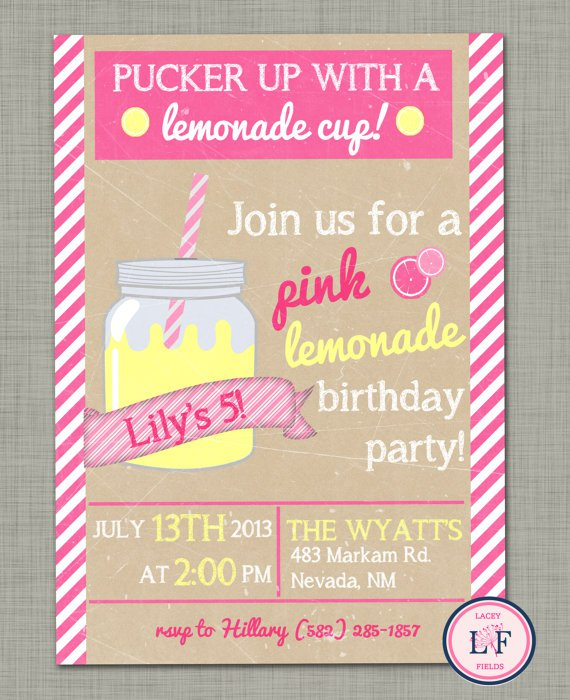 Pink Lemonade 1st Birthday Invitations