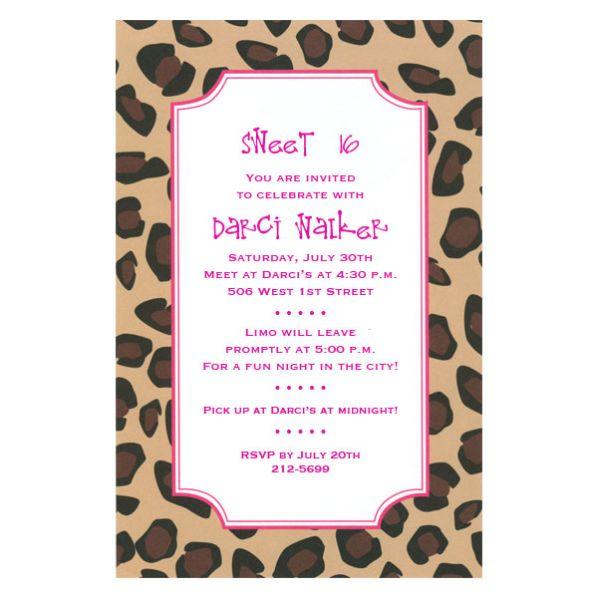 Pink Leopard Birthday Invitations