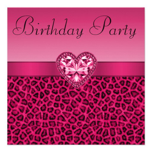 Pink Leopard Print Birthday Invitations