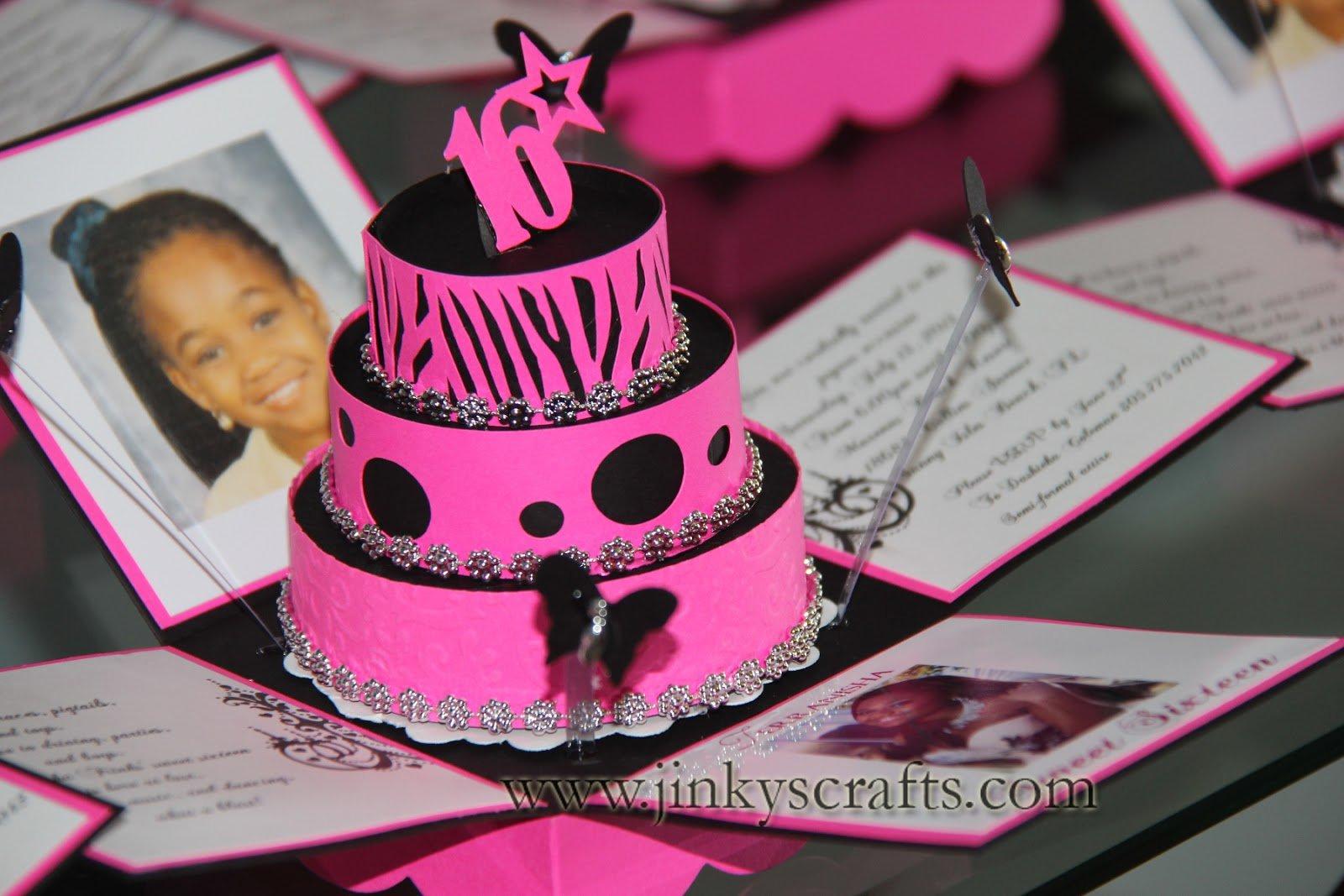 Pink Zebra Cake And Invitations