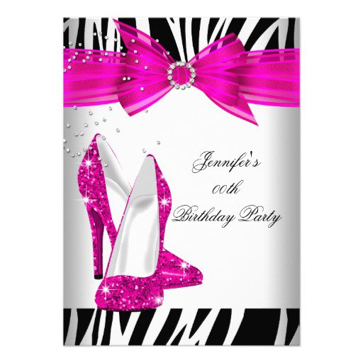 Pink Zebra Party Invitation Templates