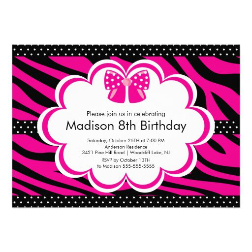 Pink Zebra Party Invitations