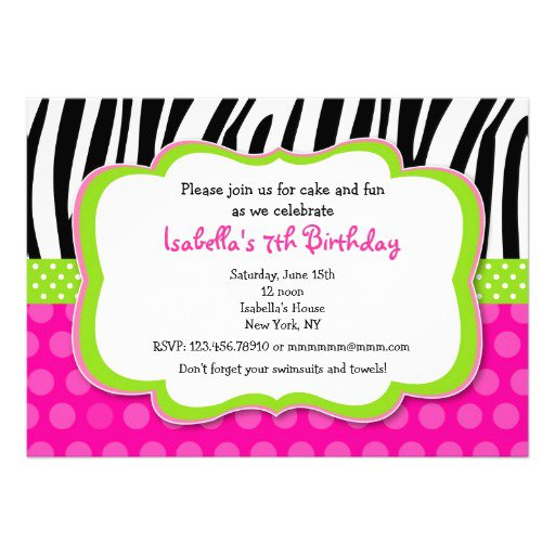 Pink Zebra Print Party Invitations