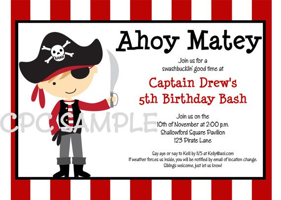 Pirate Birthday Invitations Printable