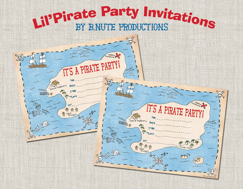 Pirate Birthday Party Invitations Printable