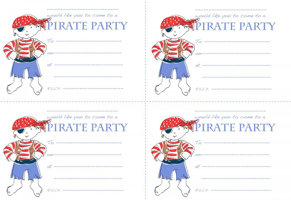 Party Invitation Templates – Free Pirate Party Invitations