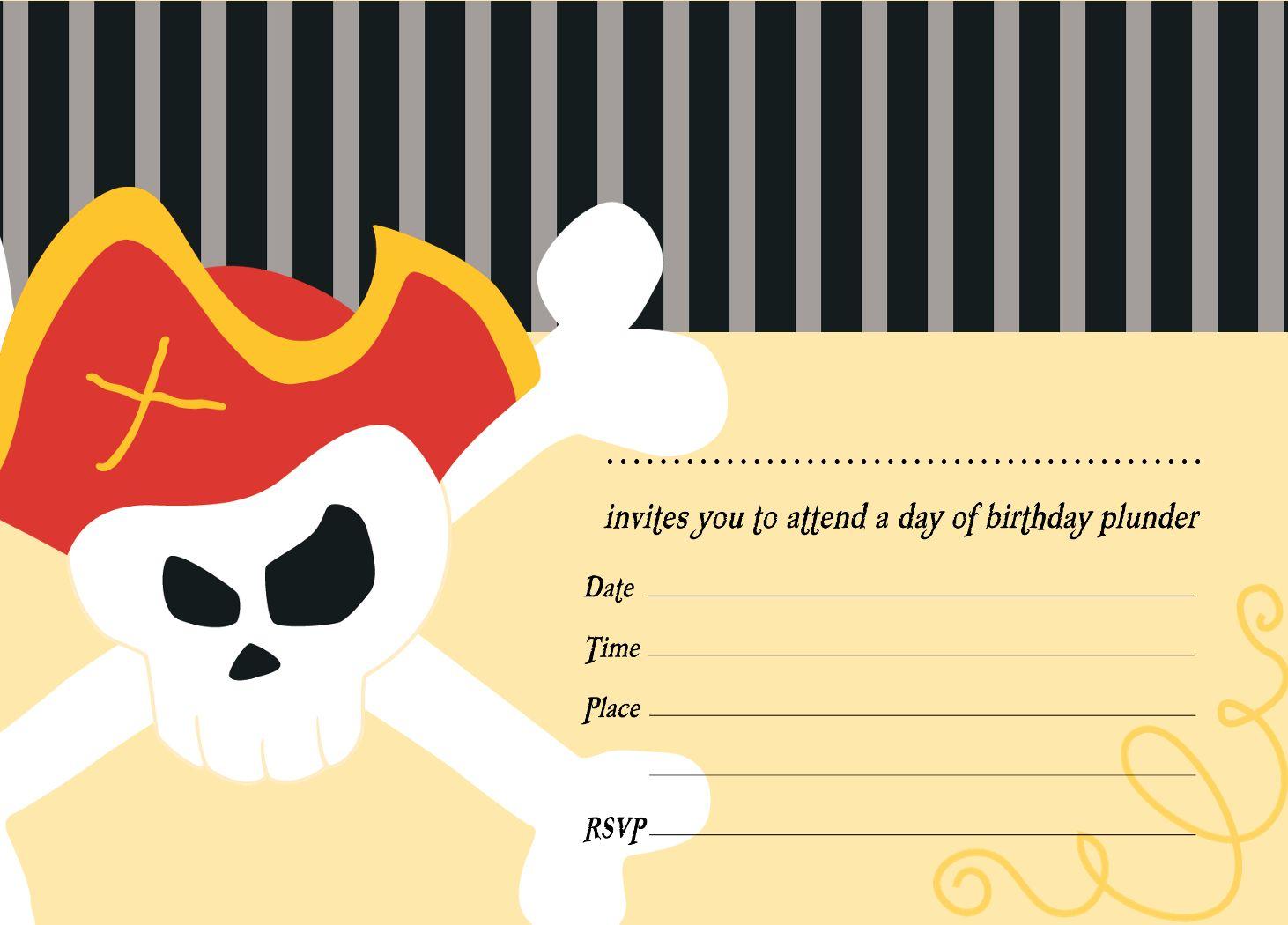 Pirate Party Invitation Templates Free