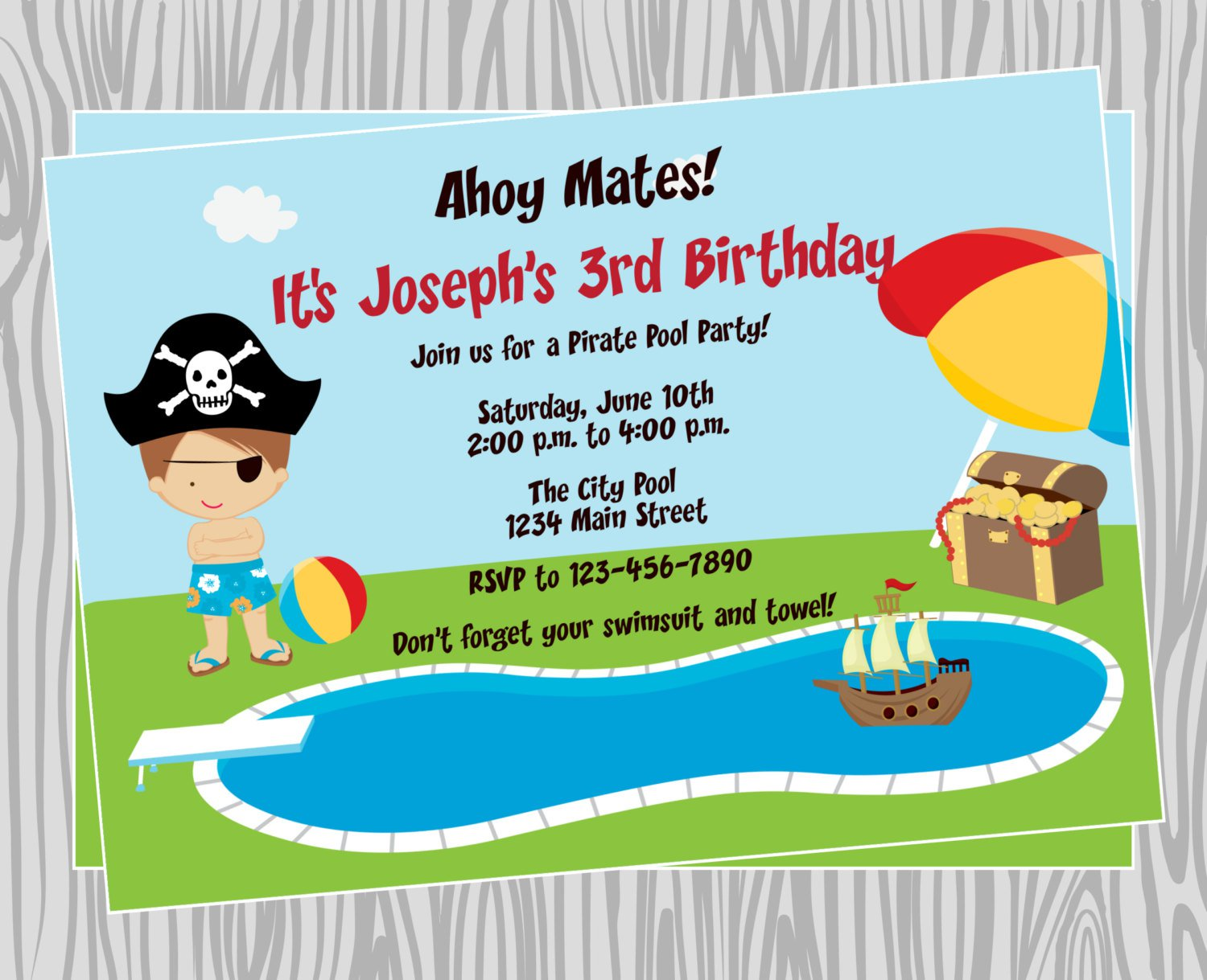 Pirate Pool Party Invitation Wording