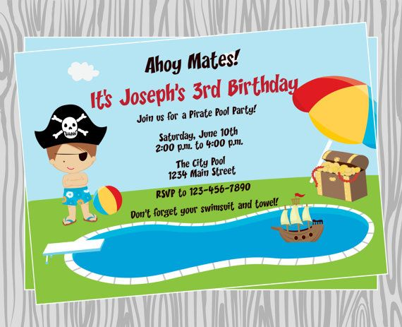 Pirate Pool Party Invitations