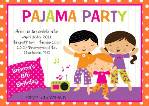 Pj Party Invitation Wording