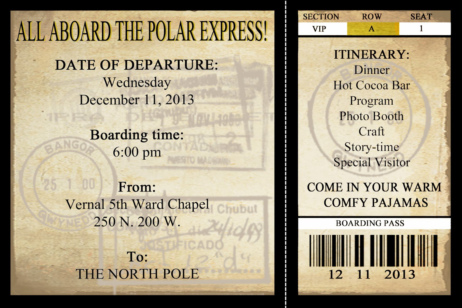 Polar Express Party Invitation Printable