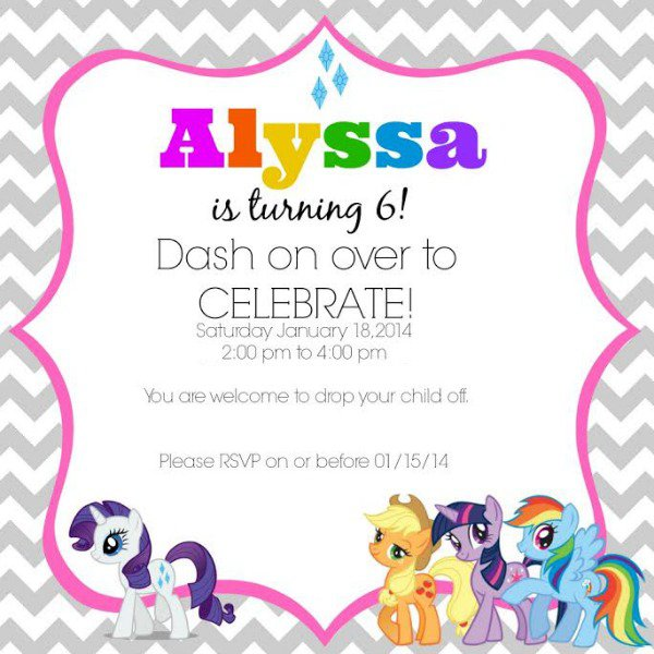 Pony Birthday Party Invitation Wording