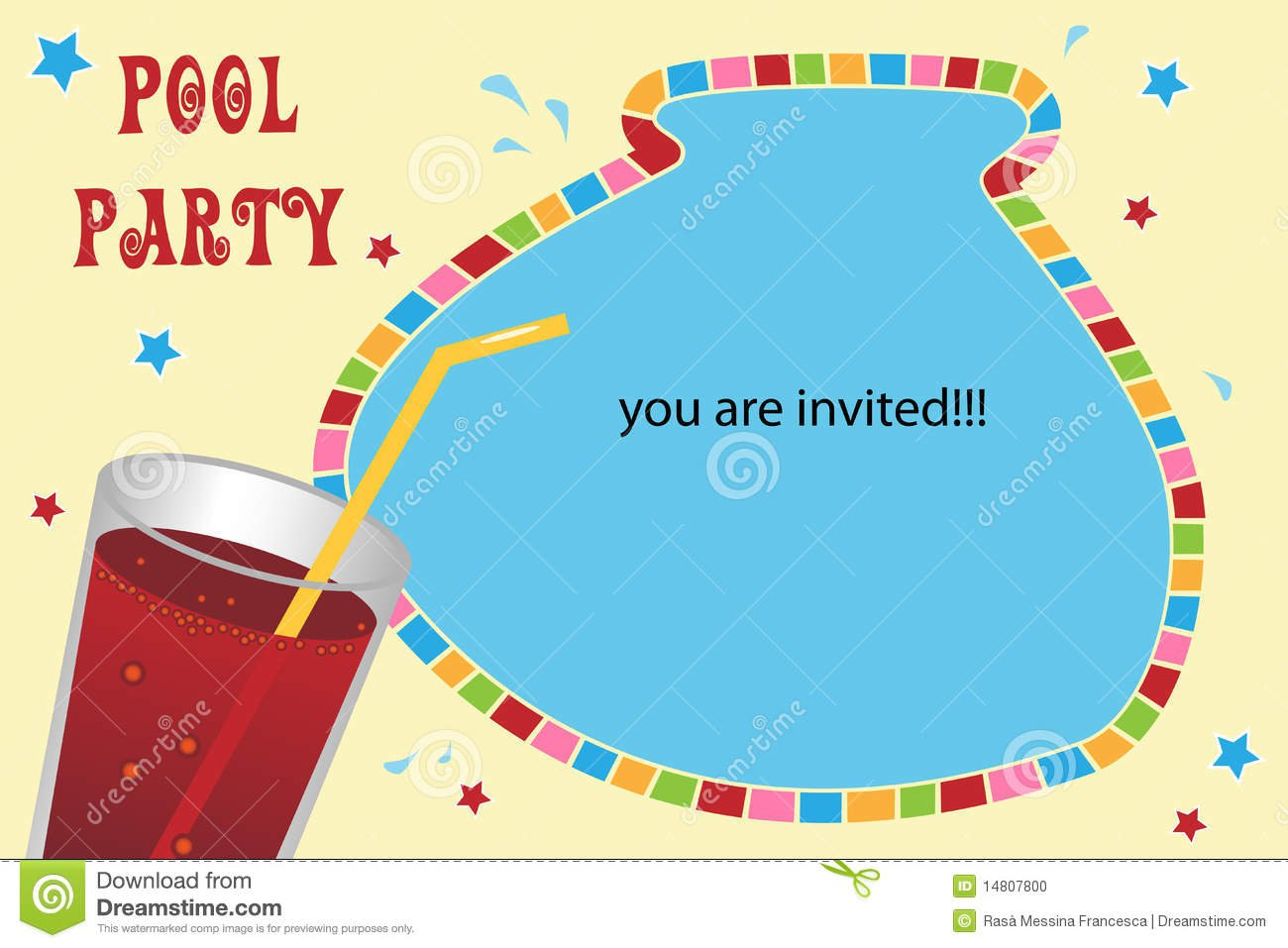 Pool Party Invitations Clip Art