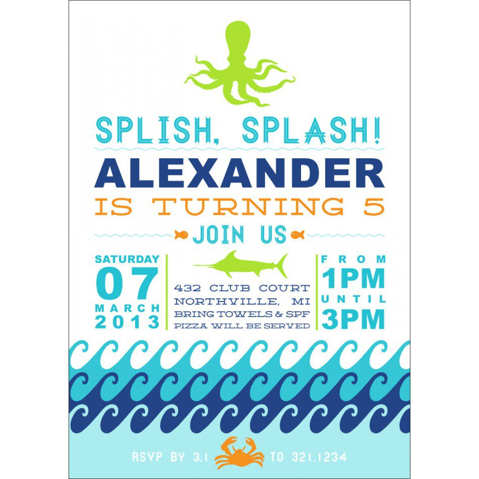 Pool Party Invitations For Teens