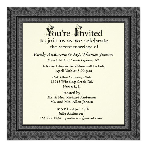 Post-wedding Dinner Invitation Wording