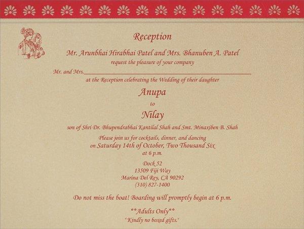 Post Wedding Reception Invitation Wording India