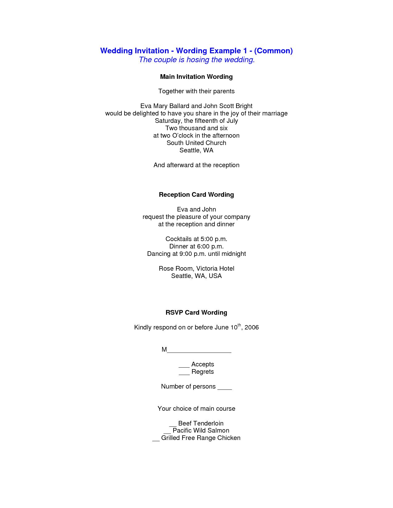 Post Wedding Reception Invitation Wording Samples