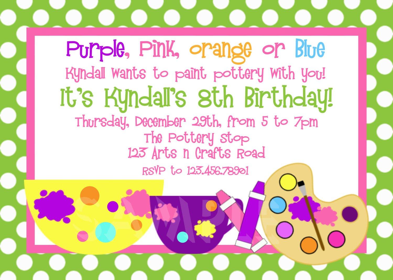 Pottery Painting Birthday Party Invitations