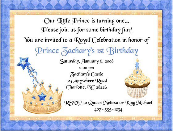 Prince Invitations Birthday Party