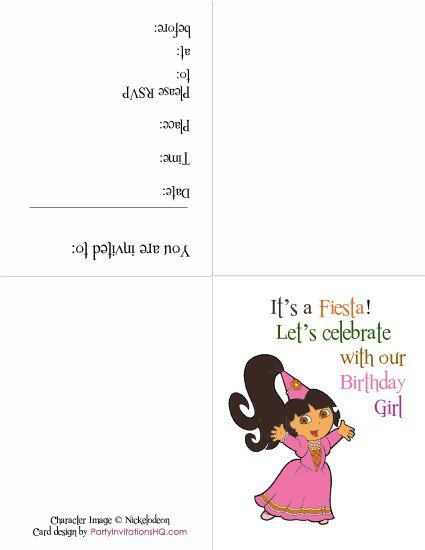 Print Out Dora Invitations