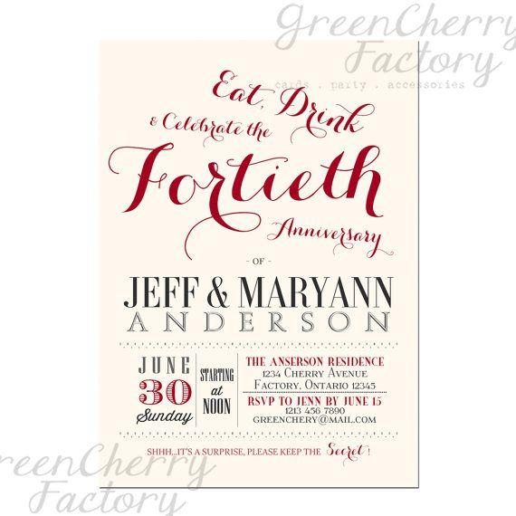 Printable 40th Wedding Anniversary Invitations