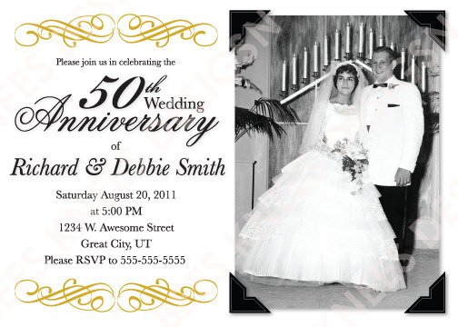 Printable 50th Wedding Anniversary Party Invitations