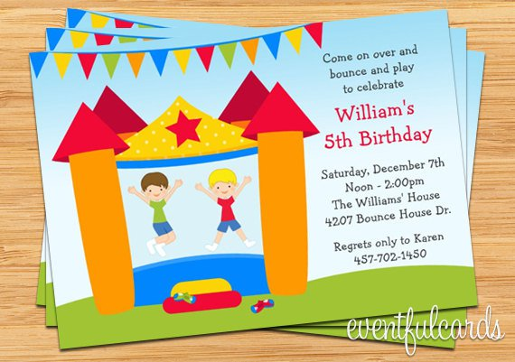 Printable Bounce House Birthday Invitations